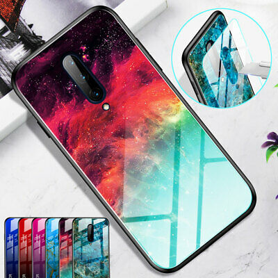 Slim Marble Gradient Tempered Glass Back Case for One Plus 7 Pro Hard Cover Skin