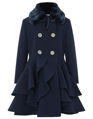 Girls Monsoon Navy Tallulah Princess Fur Ruffle Winter Dress Coat  3 - 10 Years