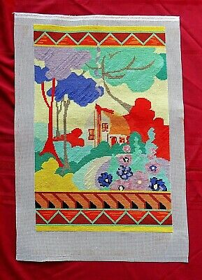 Finished Vintage Completed Clarice Cliff Style Tapestry