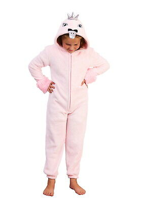 Girls 1Onesie 3D Pink Swan Princess All In One Kids Dress Up Costume Jumpsuit