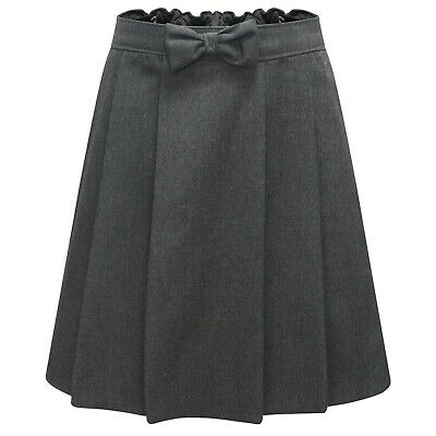Girls Grey Pleated School Skirt Bow School Uniform