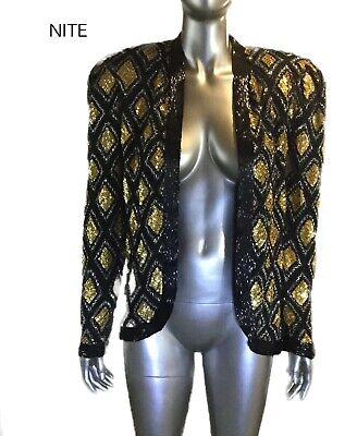 Vintage NWT Nite Line Womens Sequined Beaded Blazer/Top, Size M
