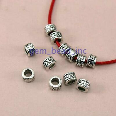50Pcs Ancient Silver Metal Loose Spacer Beads for Jewelry Making DIY Accessories