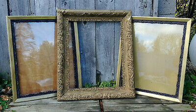 3 Antique Victorian 16x20 Picture Frames, 1 Floral Gold Gesso, 2 with Glass