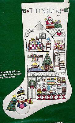 Dimensions Crewel Christmas Stocking Kit Country Store Quilted 8039 Embroidery