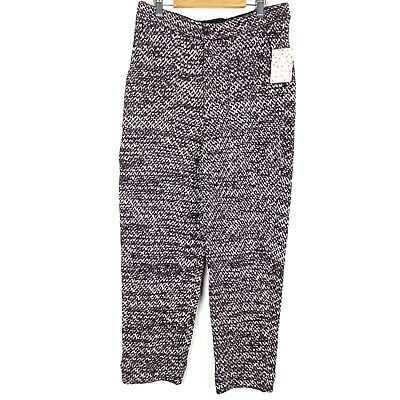 New FREE PEOPLE Cozy Knit Trouser Pants L Deep Red Combo high waist straight leg