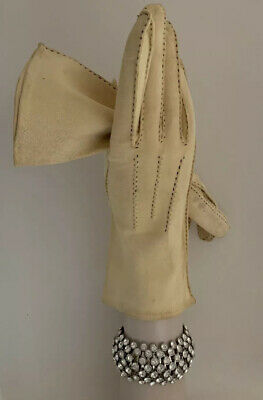 Vintage 1950s Chamois Sheep Skin Clotted Cream 10.5 Inch Evening Gloves Size 7