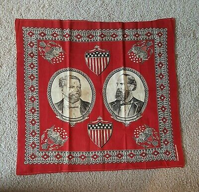1880 Winfield Hancock William English Democratic Red Jugate Campaign Bandana