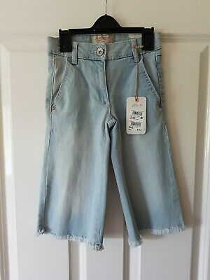 BNWT NEW lovely Next cut-off wide leg jeans trousers: size 5 years RRP£15