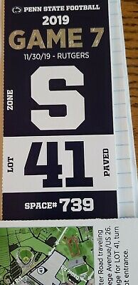 Penn State Vs Rutgers Reserved Parking Pass Lot 41 Formerly Red Lot 11/30/19