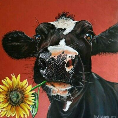 5D Full Drill Diamond Painting Kits Embroidery Decor Black Cow Animals DIY Gifts