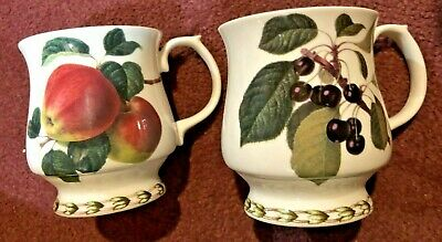 2 Queens Rosina Fine Bone China HOOKERS FRUIT Footed Mugs-Apples & Black Cherry