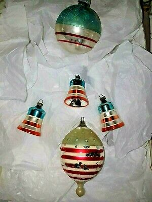 Antique Glass Ornaments German Embossed Patriotic Star Red White Blue