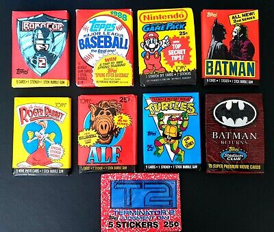 Topps Collectors Cards & Stickers New - 9 x Individual Sealed Wax Packs