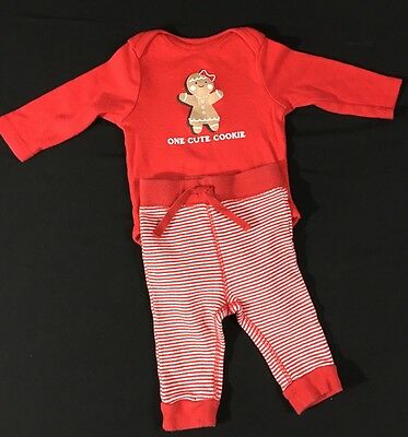 Baby Girl Christmas Cute Cookie 2 Pc. Outfit 3-6 Months Old Navy 100% Cotton Red