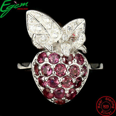 Deluxe Round Cut 3mm Rhodolite Garnet Cz 925 Sterling Silver Strawberry Ring 7