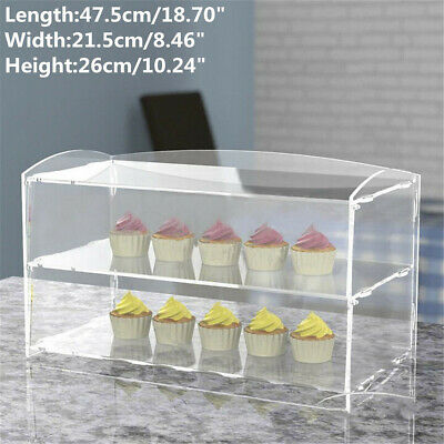 US Large Acrylic Bakery Pastry Display Cabinet Cakes Donuts Cupcakes Stand Case