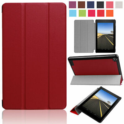 For Amazon Kindle Fire HD 8 7th Generation Leather Rugged Armor Stand Case Cover