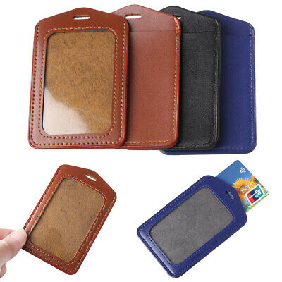 PU Leather Double Sided Card Sleeve ID Badge Transparent Case Bank ID Holders~