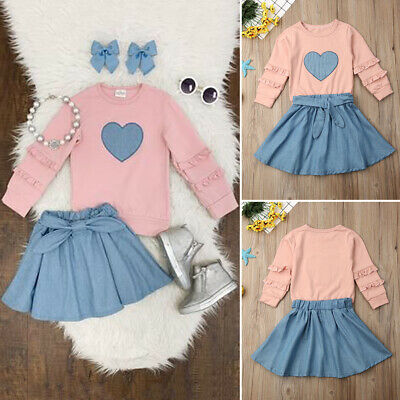 Infant Kids Baby Girl Clothes Ruffle Tops T-shirt+Tutu Skirt Dress Outfits Set
