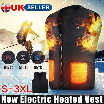 Electric Vest Heated Cloth Jacket USB Thermal Warm Up Heated Pad Body Warmer UK
