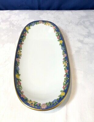 Bernardaud Limoges Fiorini Bleu Gold Ravier / Pickle Dish / Raviera NEW