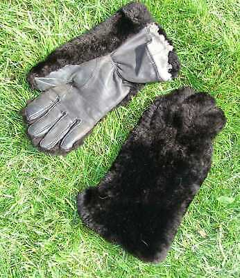 VINTAGE 1940/50s BROWN GLOVES GAUNTLET RABBIT FUR LINED LEATHER SHEEPSKIN UPPER