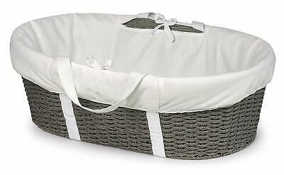 Badger Basket Wicker-Look Woven Baby Moses Basket With Bedding, Sheet, And Pad,