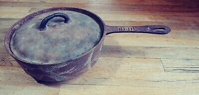 Antique Gate Marked Cast Iron Skillet Three Leg 10 Inch Frying Pan w/ lid 1800s