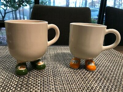 VINTAGE Fitz & Floyd Lot of 2 Cups, Yellow & Green Shoes