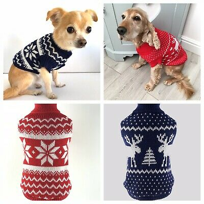 Small Dog Christmas Jumper Sweater Coat Rudolph Snowflake Puppy Cat Sizes XS-XXL