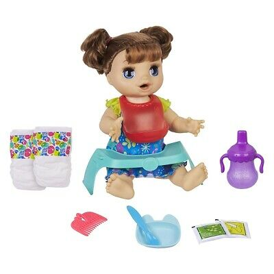 Baby Alive Happy Hungry Baby Brown Straight Hair Doll, Makes 50+ Sounds & Phr...