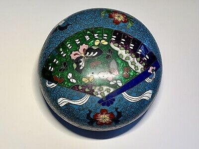 Antique Chinese Cloisonne Seal Paste Covered Jar Box Late 19th Century