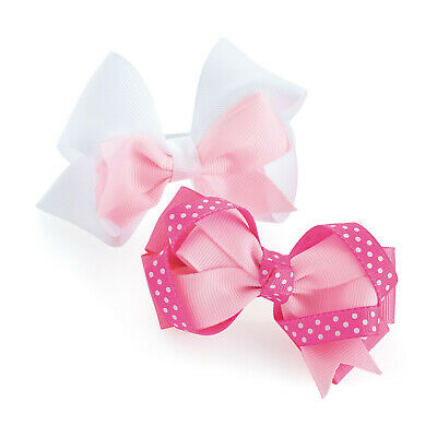 2 Pack White Pink Polka Dot Hair Bow Girls Clips School Bows Slides Accessory