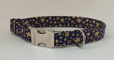🎄Handmade Navy and gold Star Fabric Dog Collar with welded nickel D ring