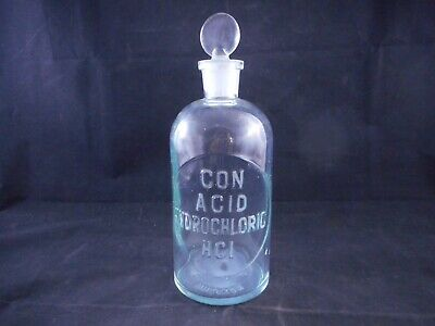 WHEATON Glass 500mL Apothecary Bottle CON ACID HYDROCHLORIC HCI Labeled Stopper