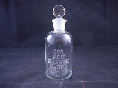 WHEATON Glass 250mL Apothecary Bottle CON ACID SULFURIC H2SO4 Labeled w Stopper