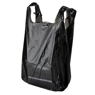 Rainbow 1/6L, 1/6-Size Black Low Density T-Shirt Liquer Bags, 100/Cs
