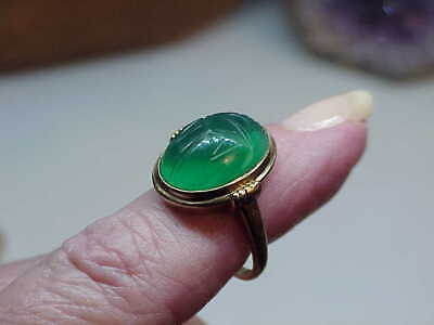 Antique Vintage Deco 10k Gold Egyptian Revival Green Jade Scarab Ring Sz 5.5