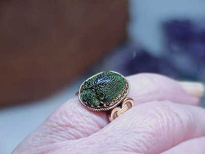 Antique Deco 14k Gold Egyptian Revival Real Green Scarab Beetle Ring Sz 3.5