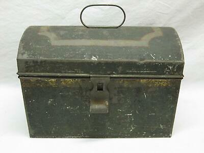 Toleware Dome Lid Box Paint Decorated Tin Lift Top Document Antique Old Vtg