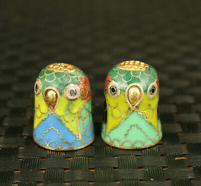 Chinese old cloisonne Handpainted pair owl thimble Statue noble decoration
