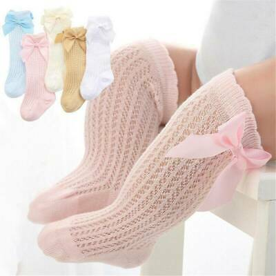 Toddler Baby Girls Knee High Long Socks Bow Cotton Casual Stockings 0-3 Years UK