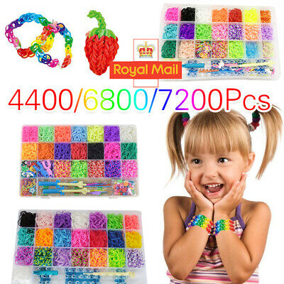 3 Type Large Rainbow Loom Band Case Kit Bands Board Hooks S Clips Beads Charms