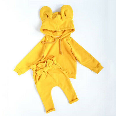 Infant Baby Girl Clothes Cotton Ears Hooded Sweater Leggings Pants Outfit Set