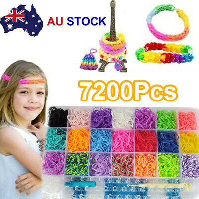 7200pcs Large Rainbow Loom Band Case Kit Bands Board Hooks S Clips Beads Charms