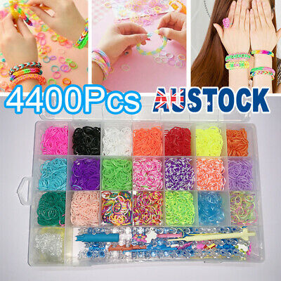 4400pcs Large Rainbow Loom Band Case Kit Bands Board Hooks S Clips Beads Charms
