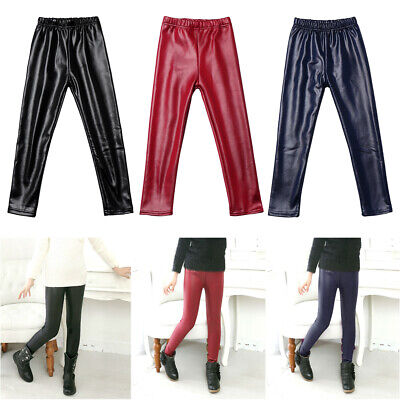 Toddler Girls Baby Stretchy PU Leather Pants Kids Warm Skinny Leggings Trousers