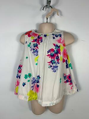 Girls Joules White Sleeveless Flower Pattern Casual T Shirt Kids Age 18/24 Month