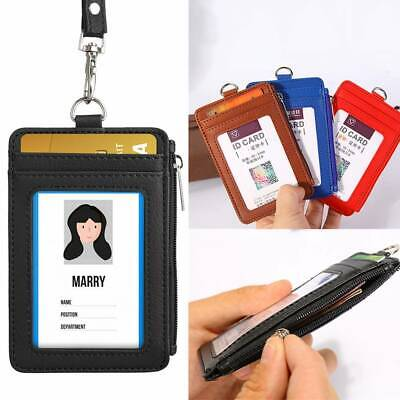 ID Badge Card Holder Leather Zipper Card Case With Neck Strap Lanyard Necklace